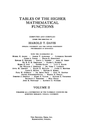 Tables of the Higher Mathematical Functions PDF