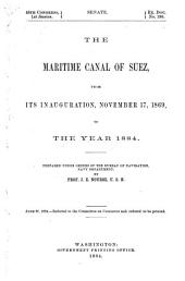 The Maritime Canal of Suez: From Its Inauguration, November 17, 1869, to the Year 1884