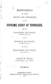 Reports of Cases Argued and Determined in the Supreme Court of Tennessee: Volume 87