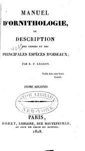 Manuel d'ornithologie,: ou Description des genres et des principales especes d'oiseaux