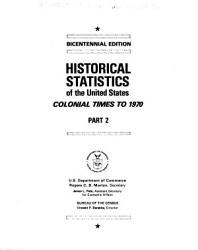 Historical Statistics of the United States, Colonial Times to 1970