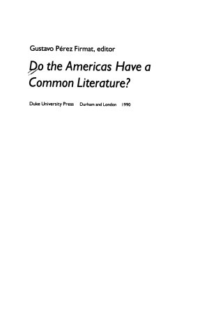 Do the Americas Have a Common Literature
