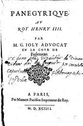 Panegyrique au roy Henry IV.