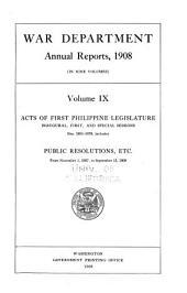 Annual Report of the Secretary of War: Volume 9