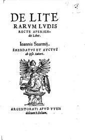 De literarum ludis recte aperiendis liber