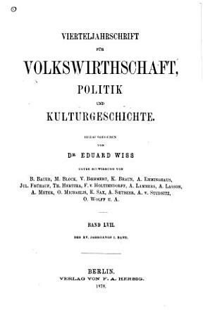 Vierteljahrschrift f  r Volkswirtschaft  Politik und Kulturgeschichte PDF