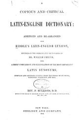 A Copious And Critical Latin English Dictionary Book PDF