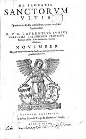 De Probatis Sanctorvm Vitis: November, Volume 11