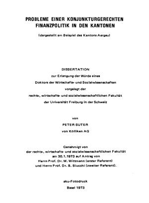 Probleme einer konjunkturgerechten finanzpolitik in den kantone    PDF
