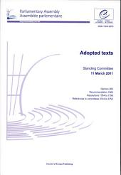 Parliamentary Assembly: Adopted Texts, Standing Committee 11 March 2011