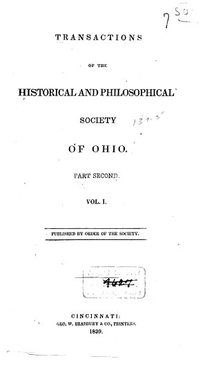 Transactions of the Historical and Philosophical Society of Ohio