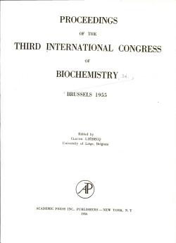 Proceedings of the Third International Congress of Biochemistry  Brussels  1955 PDF