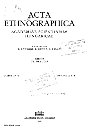 Acta Ethnographica Academiae Scientiarum Hungaricae
