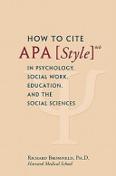 How To Cite Apa Style 6th In Psychology Social Work Education And The Social Sciences Book PDF