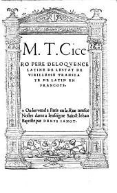 M. T. Cicero Pere Deloqvence Latine De Lestat De Vieillesse: Translate De Latin En Francoys