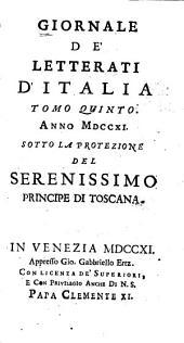 Giornale de' letterati d'Italia: Volume 5