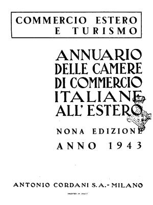 Annuario delle Camere di Commercio italiane all estero commercio estero e turismo PDF