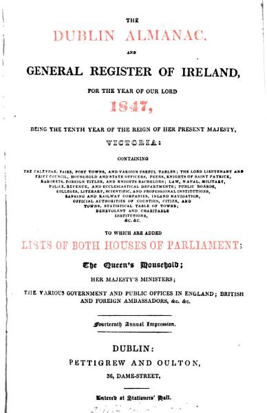 Download The Dublin almanac  and general register of Ireland  for 1847 Book