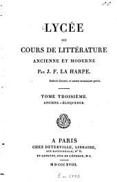 Lycée ou cours de littérature ancienne et moderne: Anciens. Éloquence, Volume3