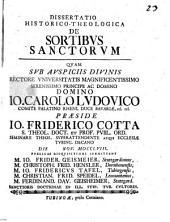 Diss. histor. theol. de sortibus sanctorum