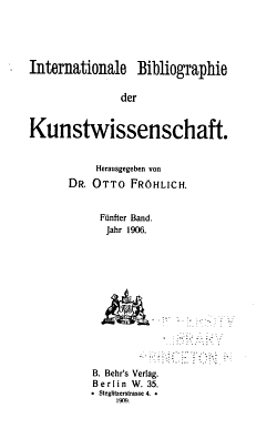 Internationale Bibliographie der Kunstwissenschaft PDF