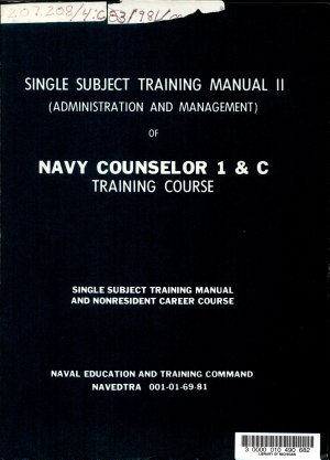 Single Subject Training Manual II  administration and Management  of Navy Counselor 1   C Training Course
