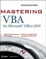 Mastering VBA for Office 2010 PDF