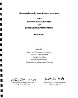 Gunnison Gorge National Conservation Area Resource Management Plan PDF