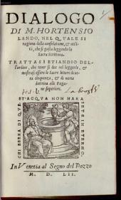Dialogo di M. Hortensio Lando, nel quale si ragiona della consolatione et utilità, che si gusta leggendo la Sacra Scrittura