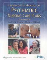 Lippincott s Manual of Psychiatric Nursing Care Plans PDF