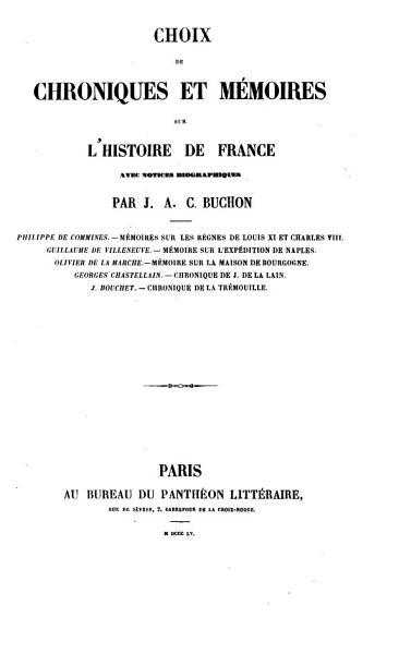 Download Choix de Chroniques Et M  moires Sur L histoire de France Book