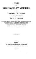 Choix de Chroniques Et M  moires Sur L histoire de France PDF