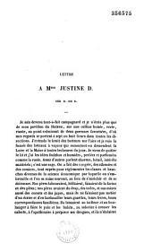 Lettre à Mme Justine D., née B. de R.