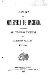 Memoria del Ministro de Hacienda Presentada al Congreso Nacional