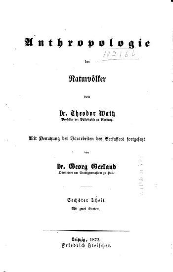 Anthropologie der Naturv  lker PDF