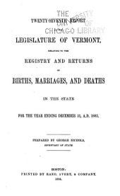 Report ... Relating to the Registry and Returns of Birth, Marriages, Deaths and Divorces in the State ...: Volume 27
