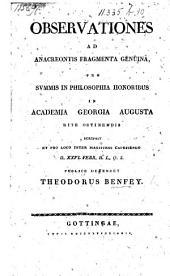 Observationes ad Anacreontis fragmenta genuina, etc