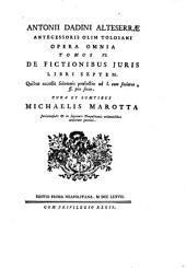 Antonii Dadini Alteserræ ... opera omnia, cura M. Marotta. Ed. la Neapolitana. 11 tom. [in 12].