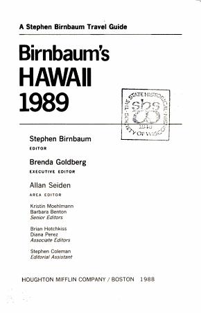Birnbaum s Hawaii 1989 PDF