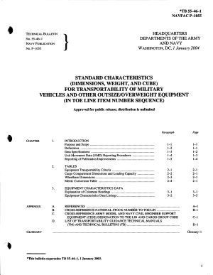 Standard Characteristics  dimensions  Weight  and Cube  for Transportability of Military Vehicles and Other Outsize overweight Equipment  in TOE Line Item Number Sequence   PDF