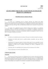 Lignes directrices pour les essais de produits chimiques / Section 5: Autres lignes directrices pour les essais Essai n° 503 : Métabolisme dans les animaux d'élevage
