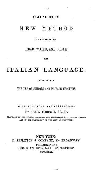 Ollendorff s New Method of Learning to Read  Write  and Speak the Italian Language PDF