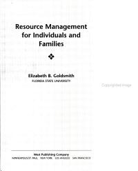 Resource Management For Individuals And Families Book PDF
