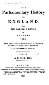 Cobbett's Parliamentary History of England: 1642-1660, Volume 3