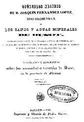 Opúsculos médicos de D. Joaquin Fernandez Lopez: Baños y Aguas minerales de Busot. Num. 4
