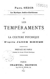 Les tempéraments et la culture psychique d'après Jacob Boehme