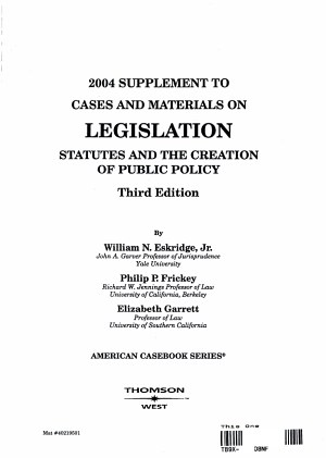 Cases And Materials On Legislation 2004