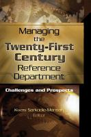 Managing the Twenty First Century Reference Department PDF