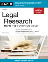 Legal Research  How to Find   Understand the Law PDF