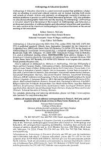 Anthropology   Education Quarterly PDF